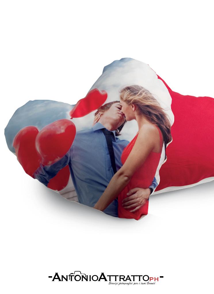 Cuscino Cuore Personalizzato con la Tua Foto Retro Rosso