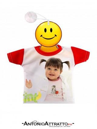 Mini t-shirt auto con foto rossa