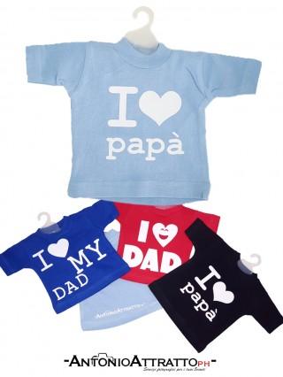 Mini t-shirt auto con scritta o nome ILovePapà
